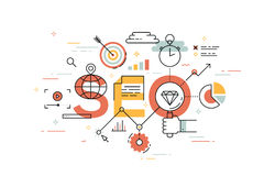 Thin line flat design banner of search engine optimization. Royalty Free Stock Photo