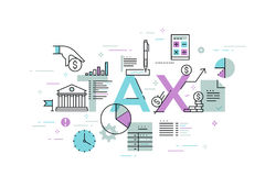 Thin line flat design banner for TAX web page. Tax law, banking, taxes information and news, services. Modern vector illustration concept of word tax for Royalty Free Stock Photos