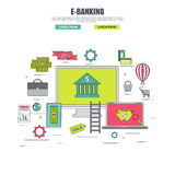 Thin line flat design concept of banking service Royalty Free Stock Photography