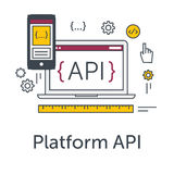 Thin line flat design concept banner for software development. Platform API icon. Programming language, testing and bug. Fixing on laptop and smartphone. Modern Stock Image