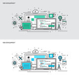 Thin line flat design concept banners for Web Development Stock Images