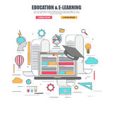 Thin line flat design concept of e-learning education Stock Images