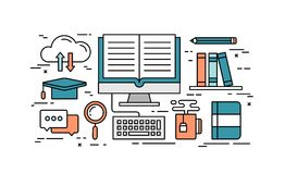 Thin line flat design concept of online education Stock Images
