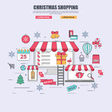 Thin line flat design concept of purchase goods in online store for christmas stock illustration