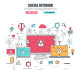 Thin line flat design concept for social network stock illustration
