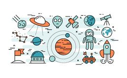 Thin line flat design concept of space exploration. Vector illustration Stock Photo
