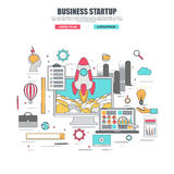 Thin line flat design concept of startup royalty free illustration