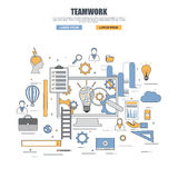 Thin line flat design concept of teamwork Royalty Free Stock Photos
