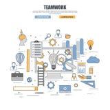 Thin line flat design concept of teamwork Royalty Free Stock Photos
