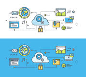 Thin line flat design concept on the theme of cloud computing Royalty Free Stock Image