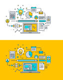 Thin line flat design concept on the theme of creative process, research, analytics, planning, development Stock Images