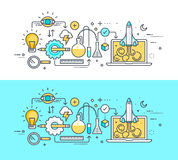Thin line flat design concept on the theme of development process, from idea to launch the project. Concept for website banners an Royalty Free Stock Photos