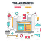 Thin line flat design concept of viral and video marketing Stock Photo