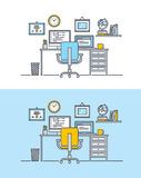 Thin line flat design concept of workspace Royalty Free Stock Photo