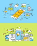 Thin line flat design concepts of mobile site and app design and development. Set of thin line flat design concepts of mobile site and app design and development stock illustration