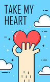 Thin line flat design. Greeting card with hand and heart. Take my heart. Vector banner Royalty Free Stock Photos