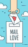 Thin line flat design greeting card for Valentine`s day. Background with mail love, envelope and hand. Vector Stock Photography