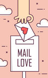 Thin line flat design greeting card for Valentine`s day. Background with mail love, hand and envelope. Vector.  Stock Images