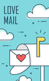Thin line flat design greeting card for Valentine`s day. Background with mailbox, envelope and clouds. Vector Stock Photo