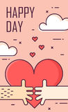 Thin line flat design greeting card for Valentine`s day. Big heart and two hands on the sky. Happy Day. Vector.  Stock Image
