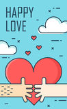 Thin line flat design greeting card for Valentine`s day. Big heart and two hands on the sky. Happy love. Vector Royalty Free Stock Photo