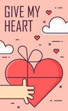 Thin line flat design greeting card for Valentine`s day. Hand and heart gift. Give my heart. Vector background.  Stock Image