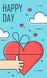 Thin line flat design greeting card for Valentine`s day. Hand and heart gift. Happy Day. Vector Stock Image