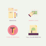 Thin line flat design of printing process objects, print design Stock Photography