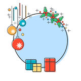 Thin line and flat design style Christmas and New Year vector illustration with empty round frame Royalty Free Stock Photos