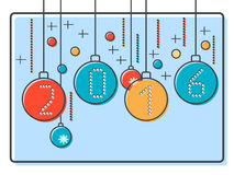 Thin line and flat design style Christmas and New Year vector illustration Stock Images