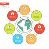 Thin line flat global infographic. Template for cycle diagram, graph, presentation and round chart. Business concept with 7 options, parts, steps or processes stock illustration