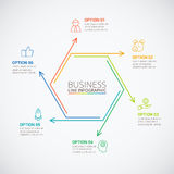 Thin line flat hexagon for infographic. royalty free illustration