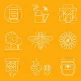 Thin line flat icons of modern beekeeping and harvesting honey. Stock Photos