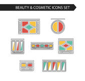 Thin line flat vector cosmetic, beauty and makeup icons. Stock Photo