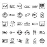 Thin line free icon set. Collection of free icon vector Stock Photos