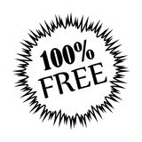 Thin line 100% free icon. Simple thin line 100% free icon vector Stock Photo