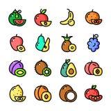 Thin line Fruits icons set, vector illustration Stock Photos