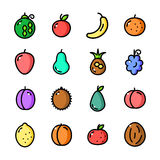 Thin line Fruits icons set, vector illustration Stock Photography