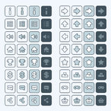 Thin line game icons buttons interface, ui Stock Photo