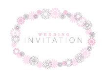 Thin line geometry flowers wreath. Royalty Free Stock Images