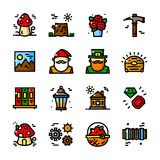 Thin line Gnome icons set, vector illustration Royalty Free Stock Photos