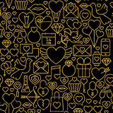 Thin Line Gold Black Valentine`s Day Seamless Pattern Stock Photos
