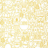 Thin Line Gold Happy Easter Seamless Pattern Stock Photo