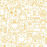 Thin Line Gold Merry Christmas Seamless Pattern Royalty Free Stock Image
