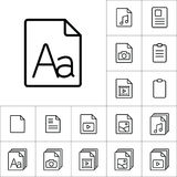 Thin line grammar, letter file icon, different type file icons s Royalty Free Stock Photography