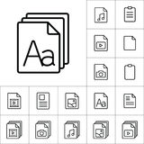 Thin line grammar, letter file icon, different type file icons s Royalty Free Stock Photo