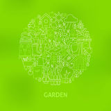 Thin Line Green Gardening and Flowers Icons Set Circle Concept Stock Image