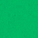 Thin Line Green Power Eco Seamless Pattern Stock Images