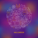 Thin Line Halloween Holiday Icons Set Circle Shaped Concept Royalty Free Stock Photo