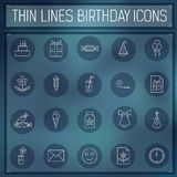 Thin line happy birthday icons set concept on a. Blurred background. Vector illustration.  Colorful template for you design, web and mobile applications Stock Photography